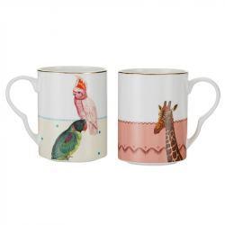 Mug / Taza Porcelana Loro y Jirafa - Kit de 2