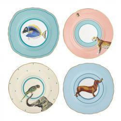 Plato Porcelana 16 cm animales - 4 Unidades