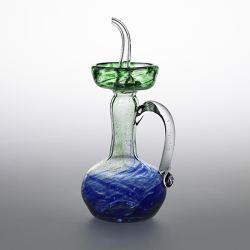 Aceitera Cristal Artesana Verde y Azul