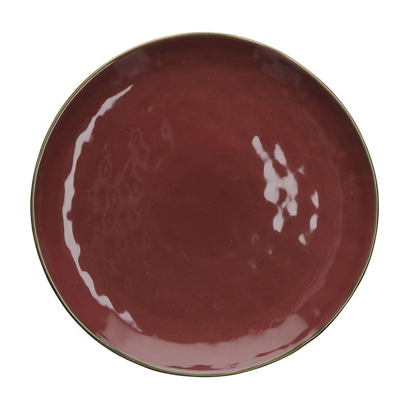 Fuente para Servir de Gres Circular Rojo