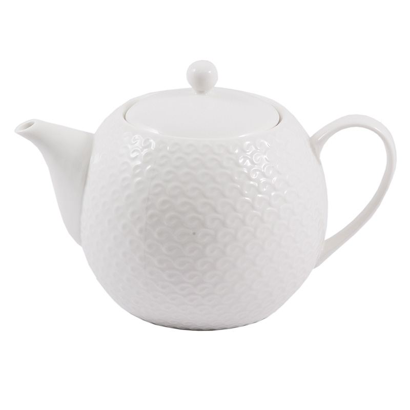 Tetera de Porcelana Blanca Relieve