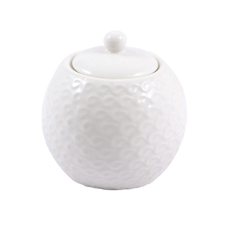 Azucarero Porcelana Blanca Relieve