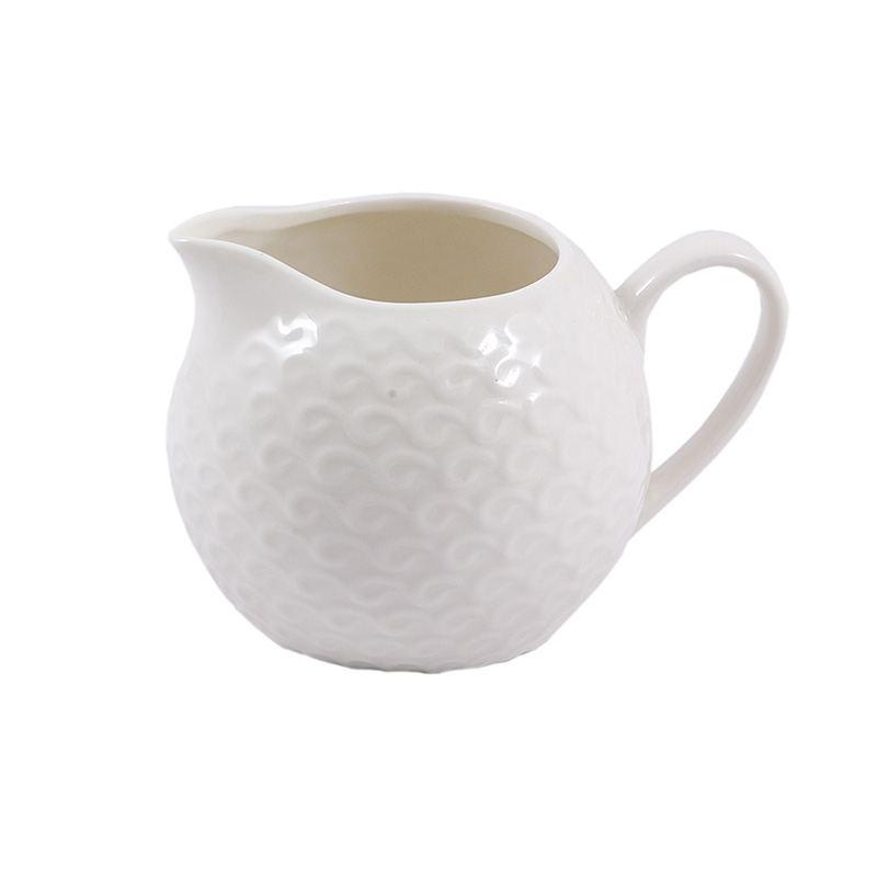 Lechera Porcelana Blanca Relieve
