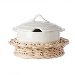 Cazuela Mini Porcelana con Cesta de Mimbre
