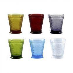 Vaso de Cristal Colores - 6 Unidades