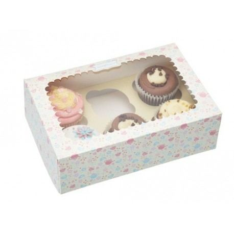 Caja de Cartón Decorada para 6 Cupcakes – 2 unidades