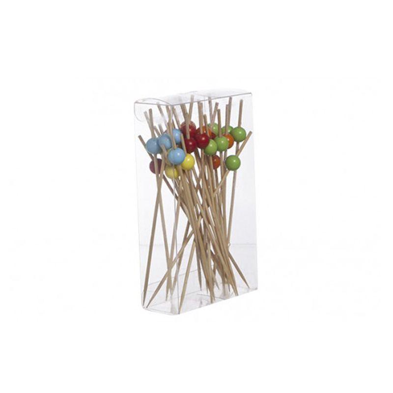 Palillos Madera con bolas de colores -  Aperitivos y Cocktail