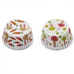 Molde Magdalena y Cupcake Papel Conejos Pascua y Zanahorias