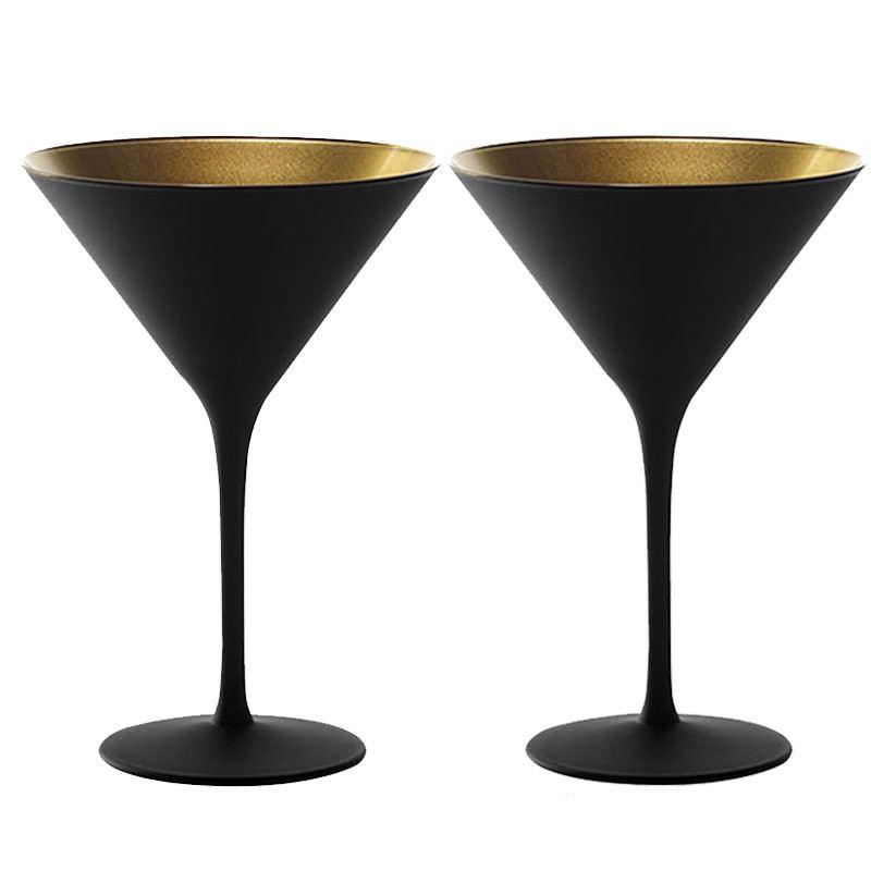 Copa Cóctel y Martini Negro y Dorado