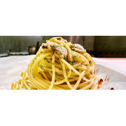 Spaghetti con almejas y bottarga Restaurante Pante