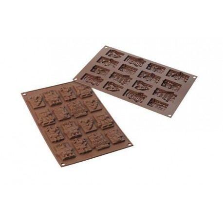 Molde de silicona para realizar figuras de chocolate navideñas