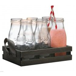 Set 6 Botellas de Leche Country con Caja