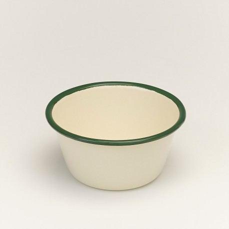 Cuenco esmaltado estilo vintage con Borde Verde 12cm