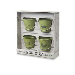 Set de 4 Hueveras con Forma de Cubo Vintage