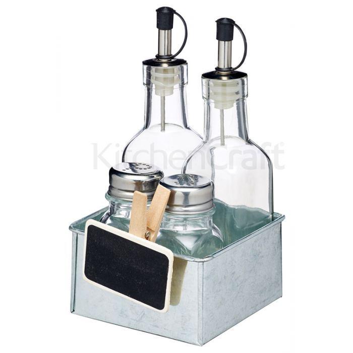 Set Condimentos de esmalte y cristal (aceitera, vinagrera, salero y pimentero)