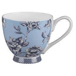 Tazón Portobello Diseño flores sobre fono azul claro