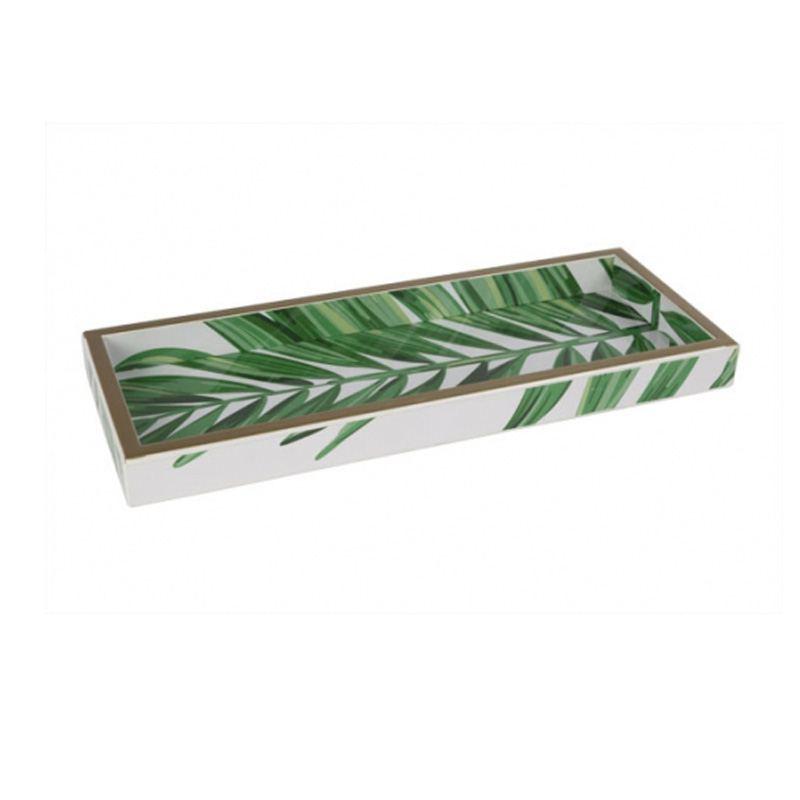 Bandeja de madera decorada con motivo tropical