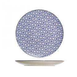 Plato Azul y Blanco Motivo Circular - 6 unidades
