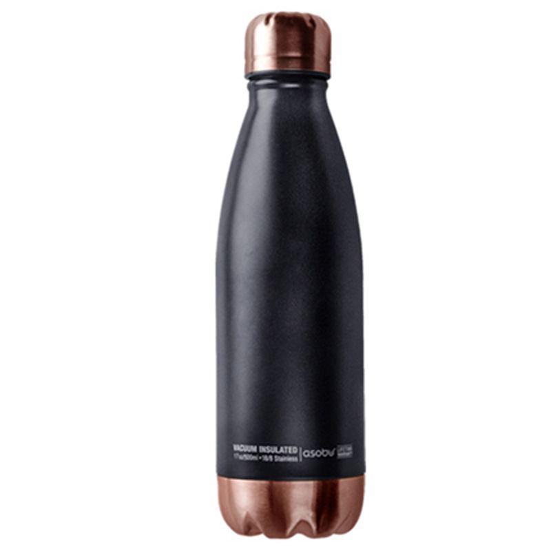 Termo Botella 500 ml - Negro/Cobre