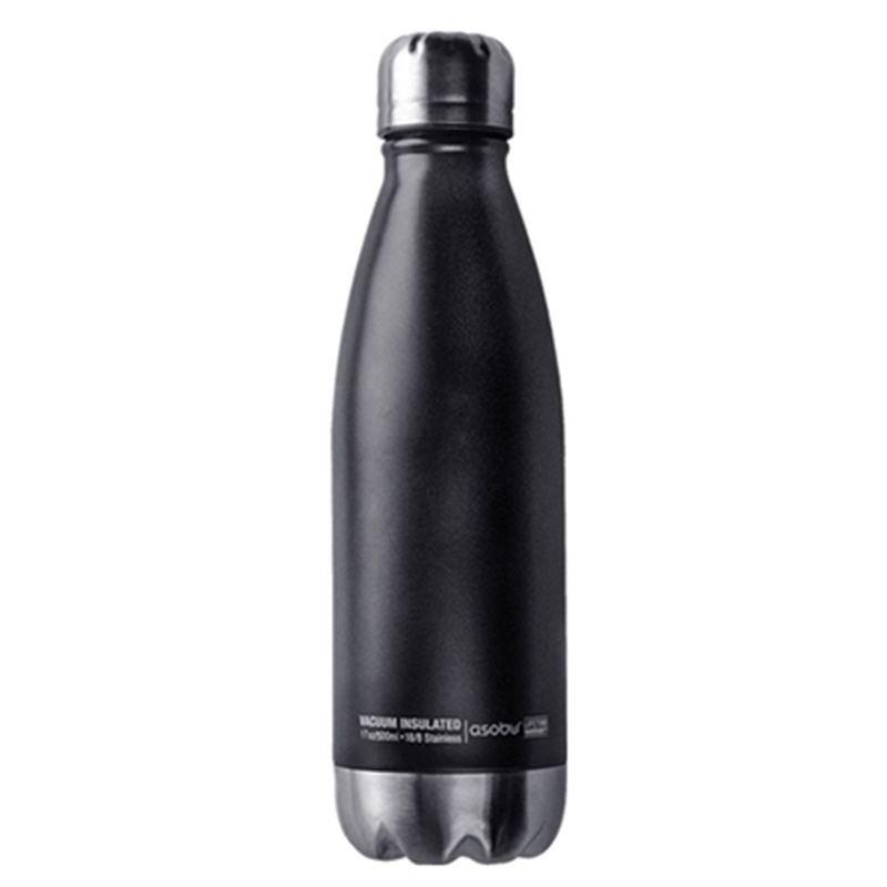 Termo Botella 500 ml - Negro/Plata