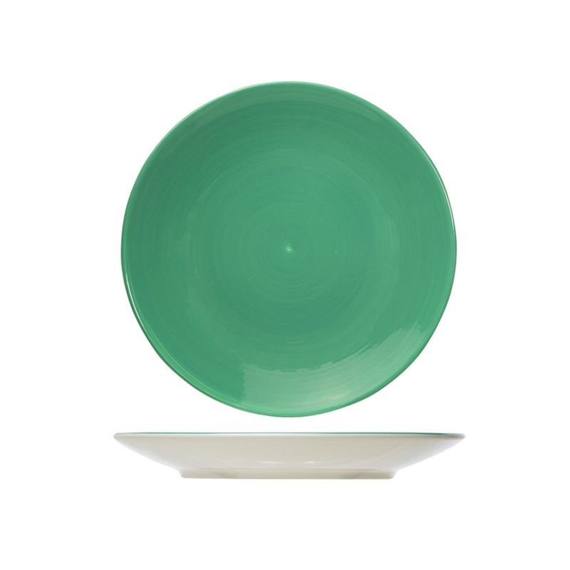 Plato Llano Motivo Espiral Verde