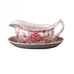 Salsera Porcelana Flores con Plato Ovalado