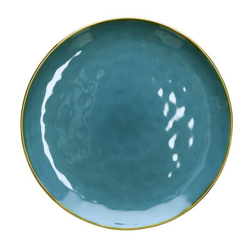 Fuente para Servir de Gres Circular Azul
