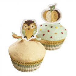 Molde Magdalena y Cupcake Papel con Toppers Búho y Calabaza