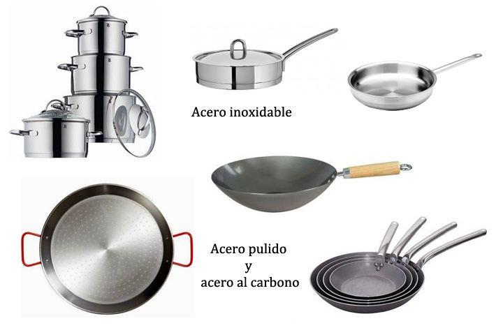 Paella, wok, sartenes y batería de cocina de acero
