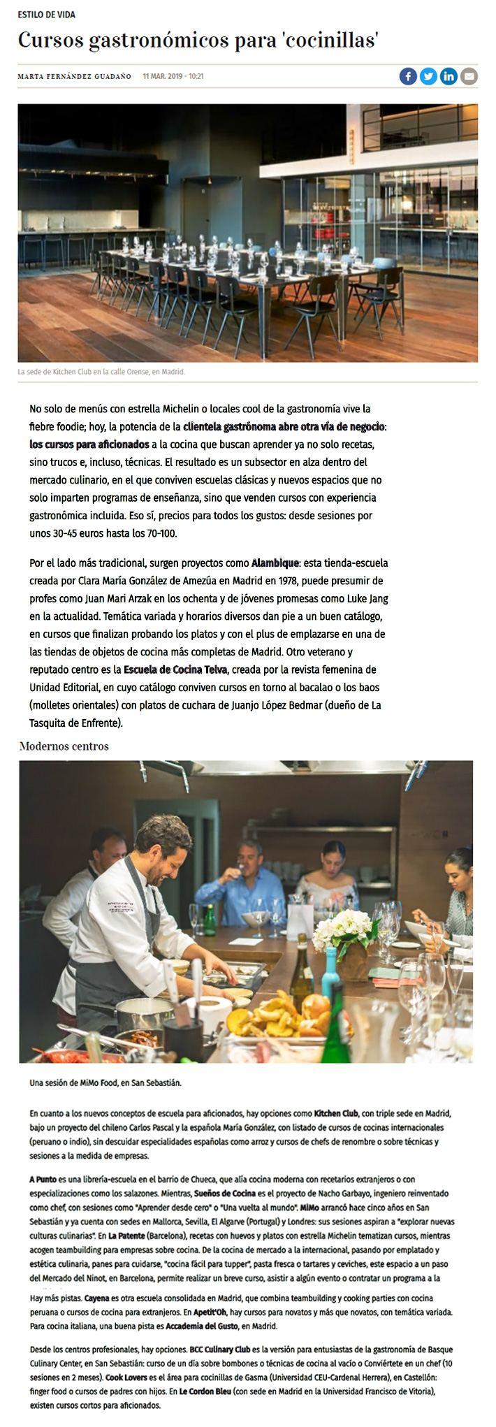Artículo del diario Expansión sobre escuelas de cocina